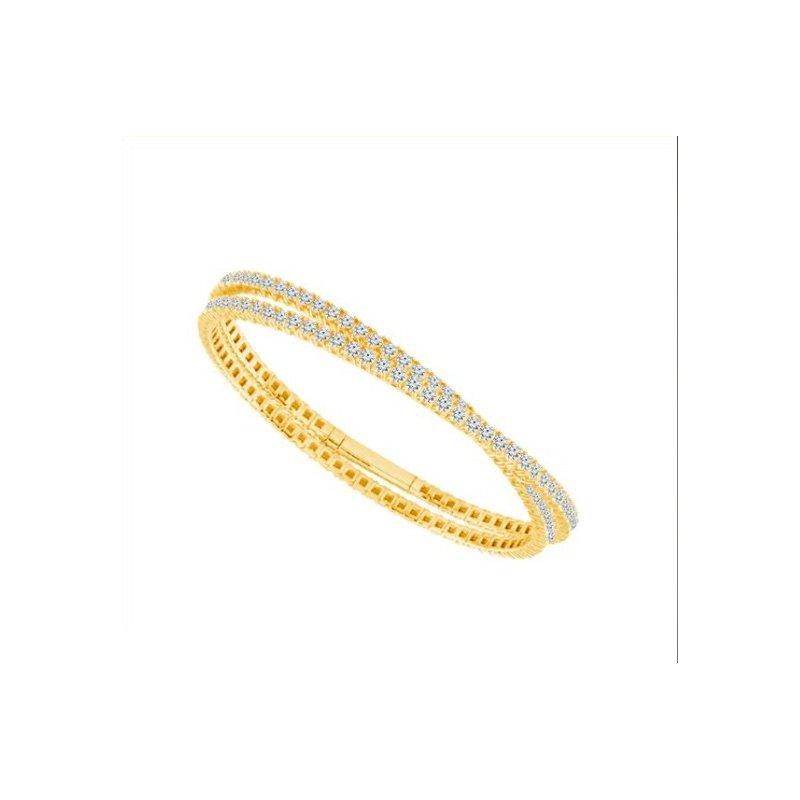 IDD Jewelry Gold Double Wrap Diamond Tennis Bracelet
