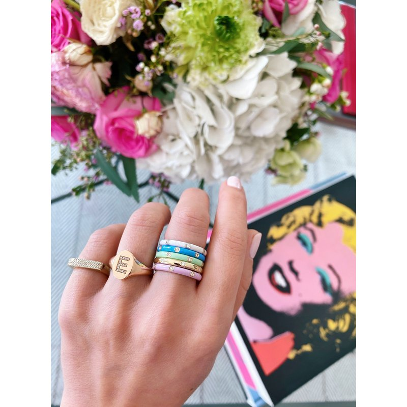 EF Collection 3 Diamond Mint Enamel Stack Ring
