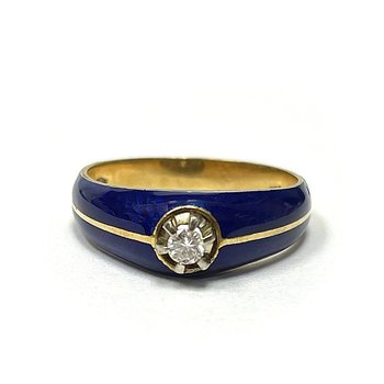 18k & Blue Enamel Diamond Ring