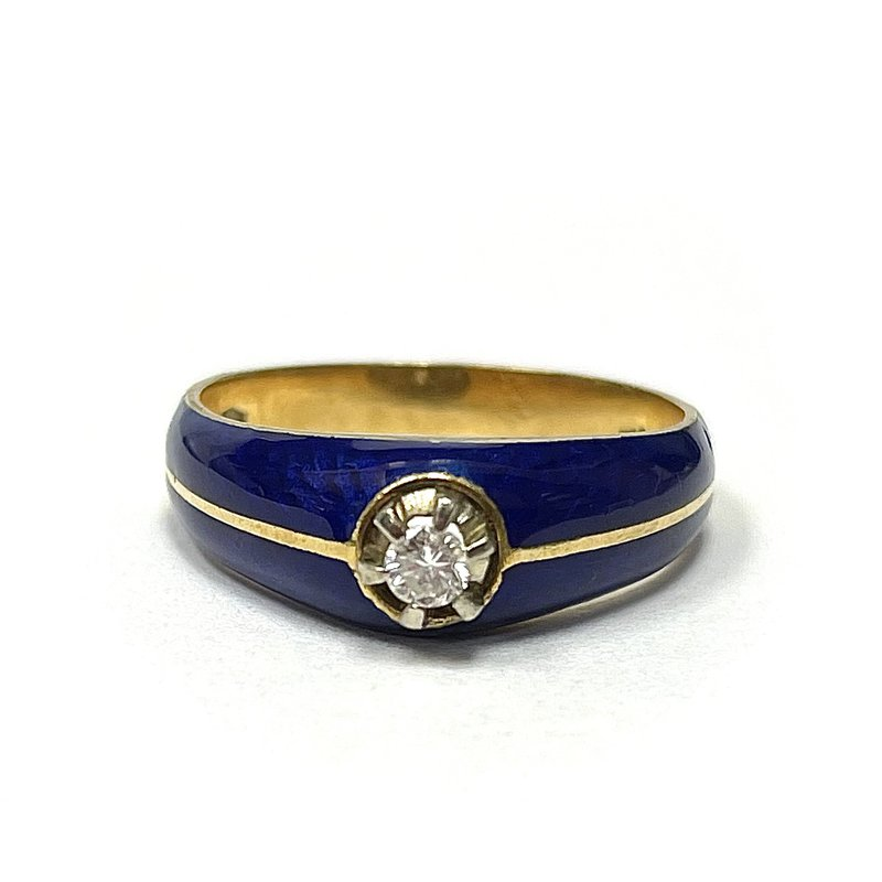 Antique, Estate & Consignment 18k & Blue Enamel Diamond Ring
