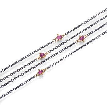 Oxidized Sterling Silver Pink Tourmaline Textile Station Necklace