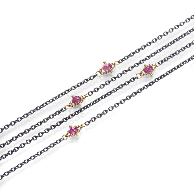 Amali Oxidized Sterling Silver Pink Tourmaline Textile Station Necklace