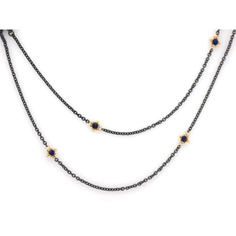 Amali Textile Lapis Station Necklace