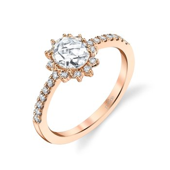 Rose Cut Oval Diamond Halo Ring