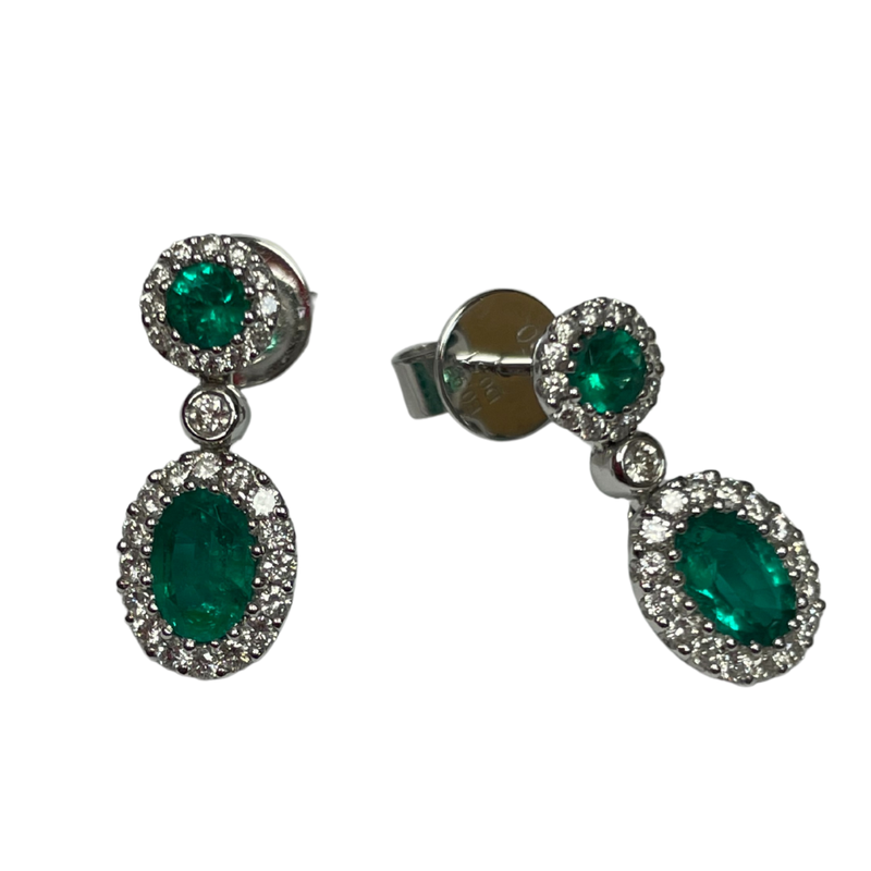 Hurdle's Jewelry Collection 18k White Gold Diamond and Emerald Earrings