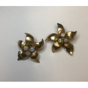 Flower Opal Clip On Earrings