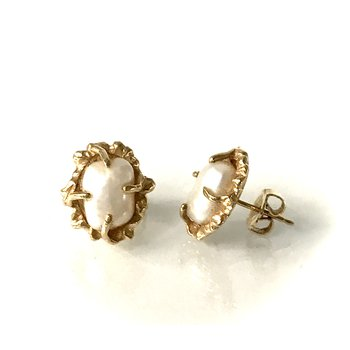 Freshwater Pearl Freeform Gold Earrings