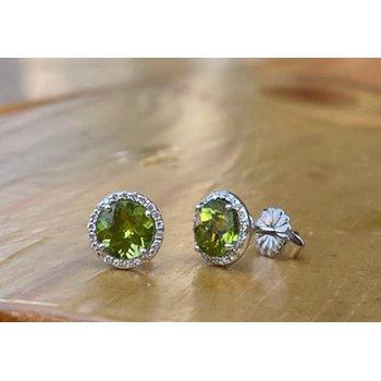 Peridot & Diamond Halo Earrings