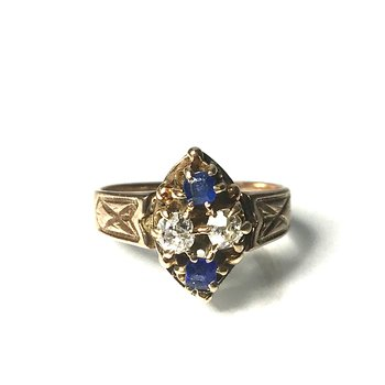 Diamond & Glass Doublet Ring