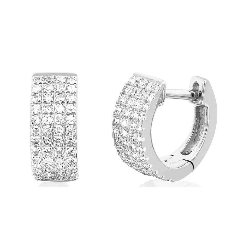 EF Collection Diamond Jumbo Huggie Earring - White Gold