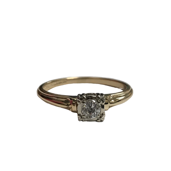 14k Two Tone Solitaire Diamond Ring