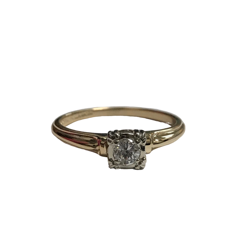 Antique, Estate & Consignment 14k Two Tone Solitaire Diamond Ring
