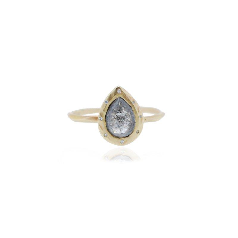 Rebecca Overmann Pear Shape One of a Kind Grey Diamond Ring