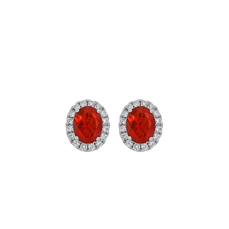 Spark Creations Fire Opal & Diamond Earrings