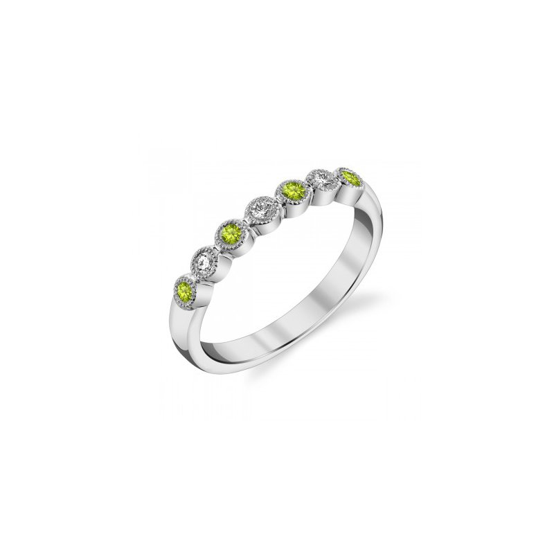 Stanton Color Peridot & Diamond Anniversary Band