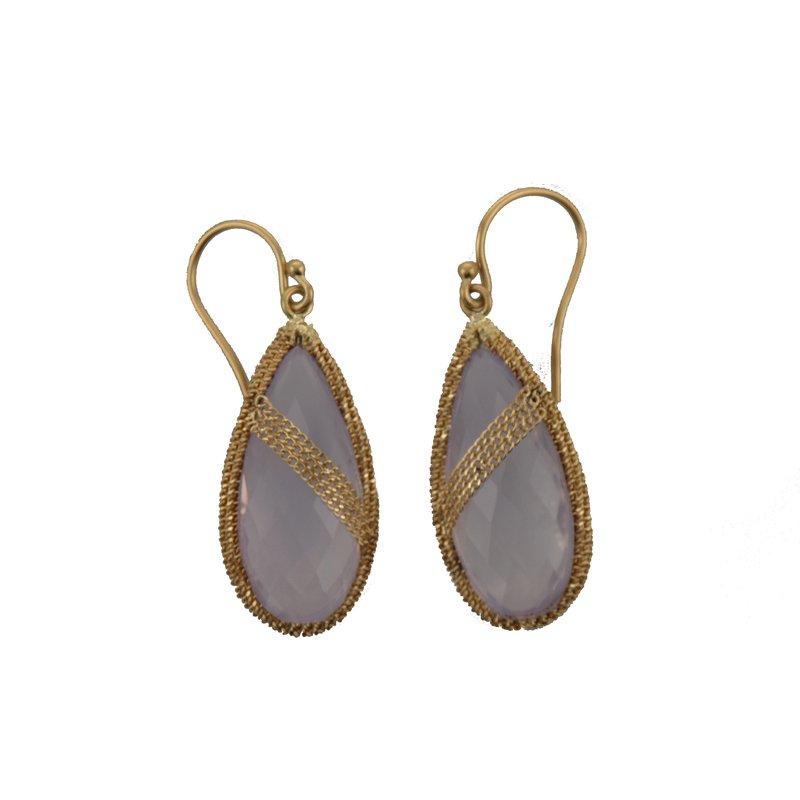 Amali Lavender Quartz Candy Drop Drape Earrings