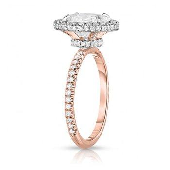 Oval Diamond Halo Engagement Ring - Lauren B