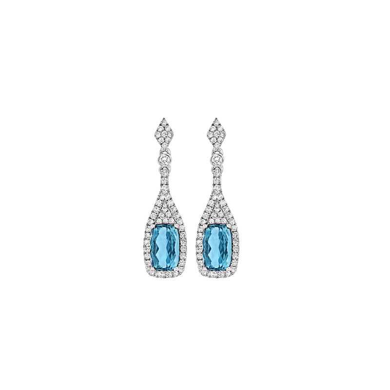 Spark Creations Aquamarine & Diamond Earrings