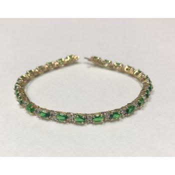 Tsavorite Garnet & Diamond Tennis Bracelet