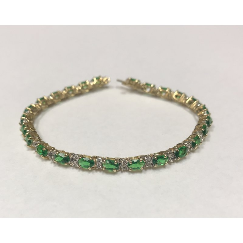 Antique, Estate & Consignment Tsavorite Garnet & Diamond Tennis Bracelet