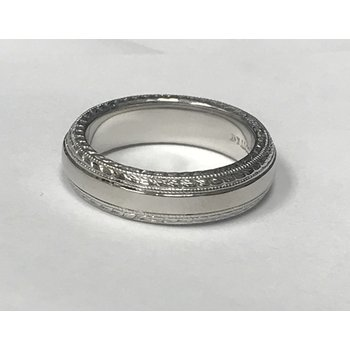 Palladium Engraved Wedding Band