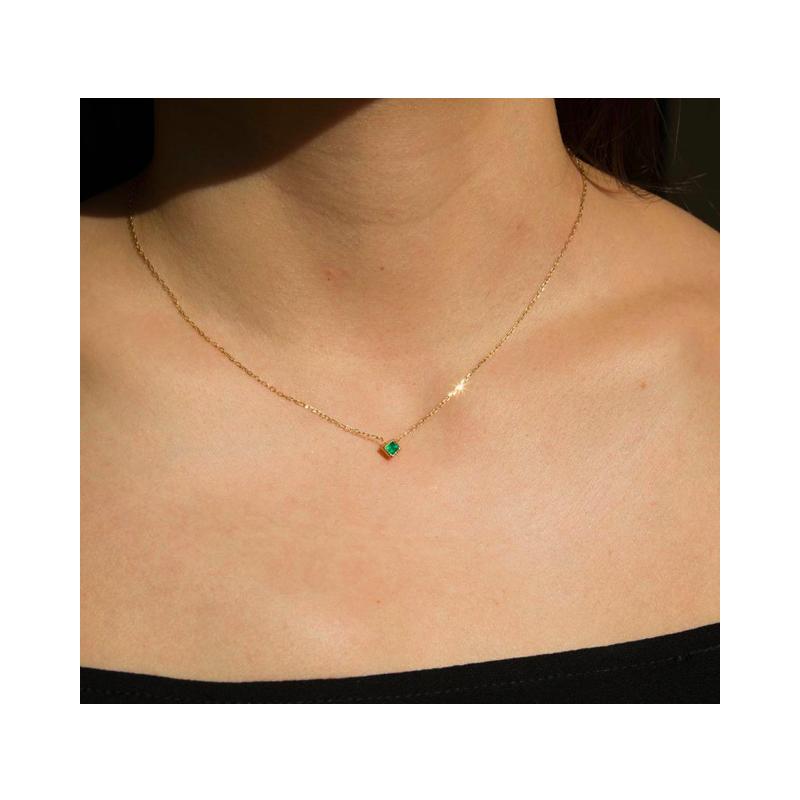 Jennie Kwon Princess Cut Emerald Necklace