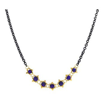 Textile Centered Lapis Station Necklace