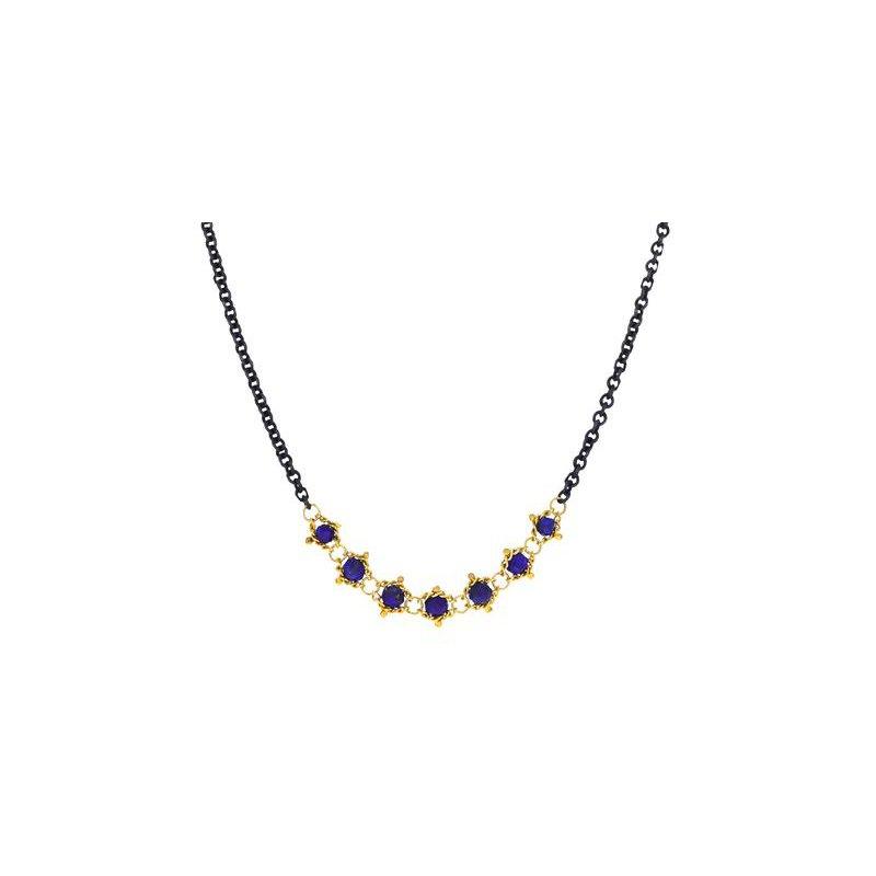 Amali Textile Centered Lapis Station Necklace