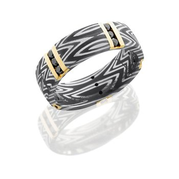 Damascus Steel Black Diamond Band