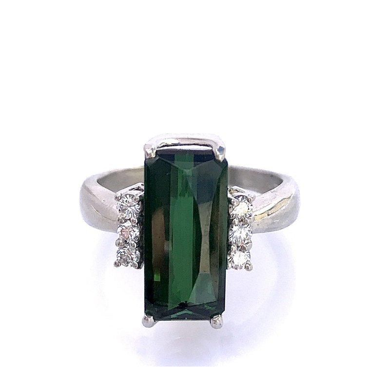 Antique, Estate & Consignment Platinum Tourmaline & Diamond Ring