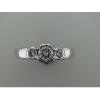 Three Stone Bezel Diamond Engagement Ring