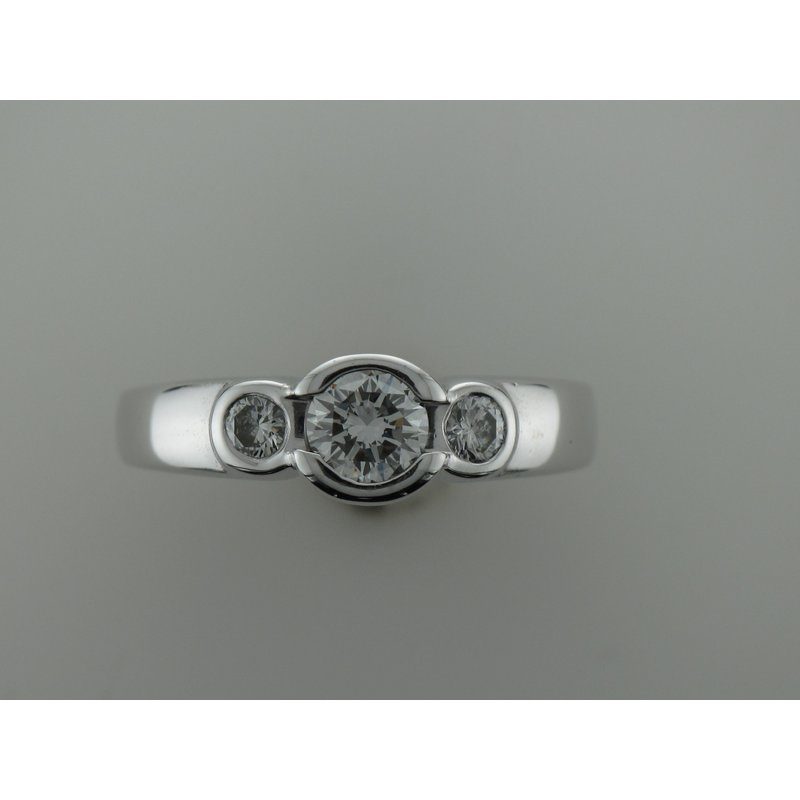 Antique, Estate & Consignment Three Stone Bezel Diamond Engagement Ring