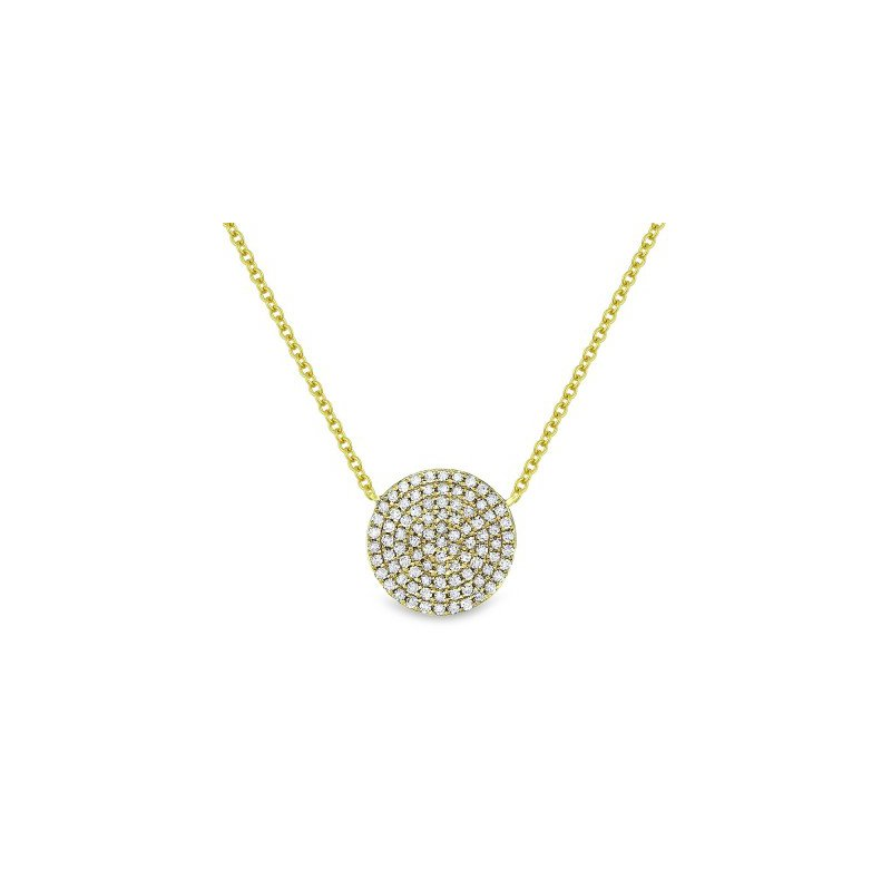 Madison L Pave Diamond Disc Necklace