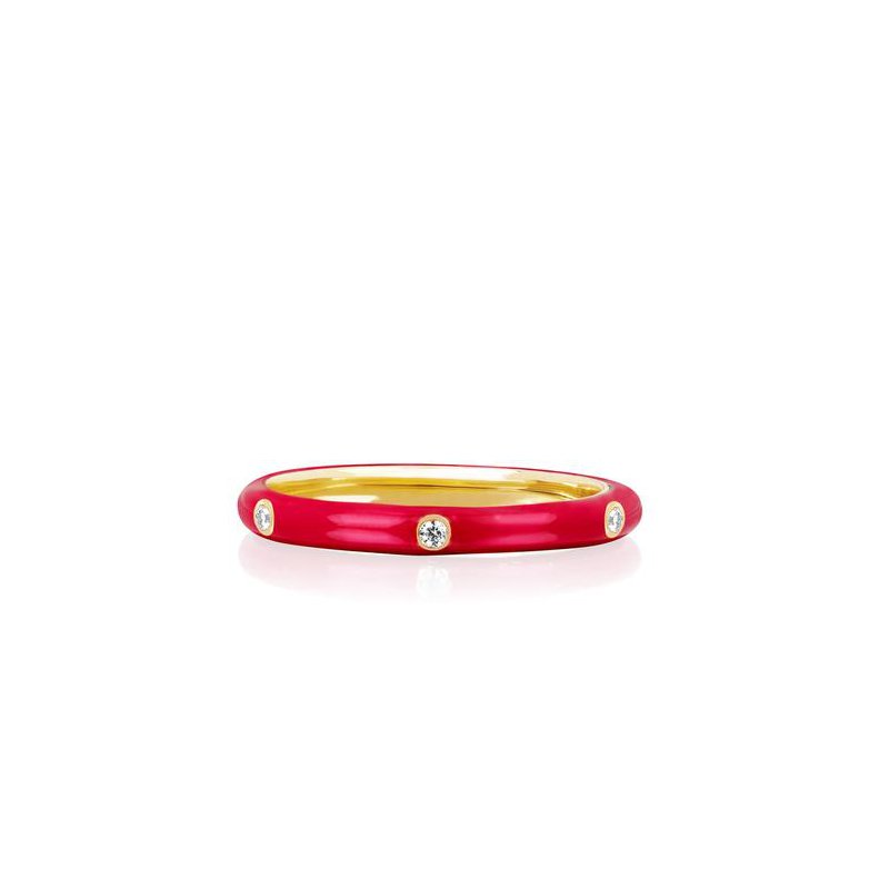 EF Collection 3 Diamond Red Enamel Stack Ring