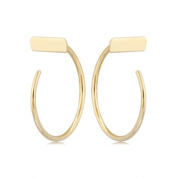 Gold T Bar Hoops