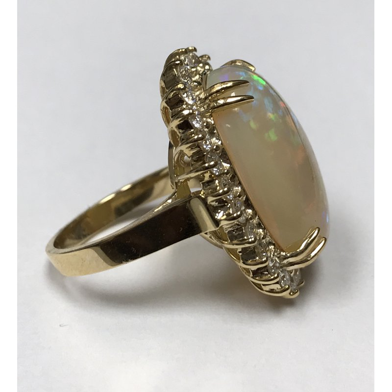 Antique, Estate & Consignment Oval Opal & Diamond Ring