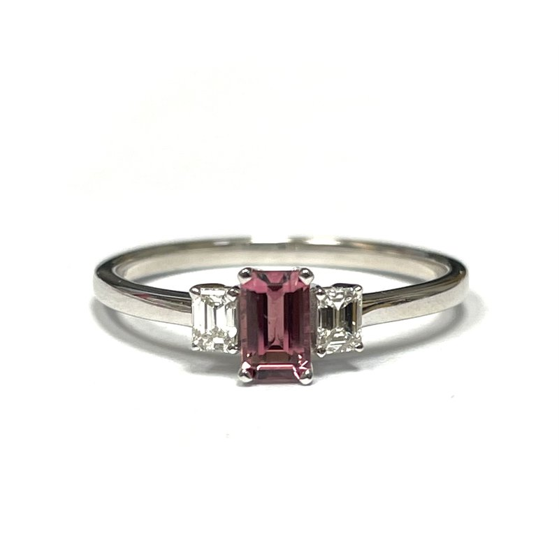 Hurdle's Jewelry Collection Pink Tourmaline & Diamond Three Stone Ring