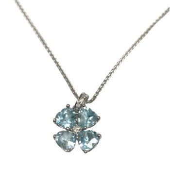 Heart Shaped Aquamarine & Diamond Necklace