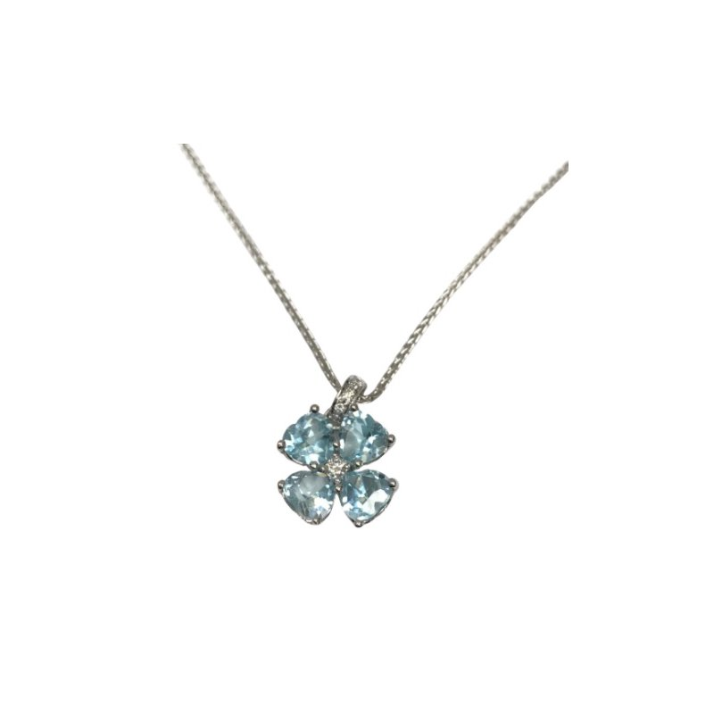 Antique, Estate & Consignment Heart Shaped Aquamarine & Diamond Necklace