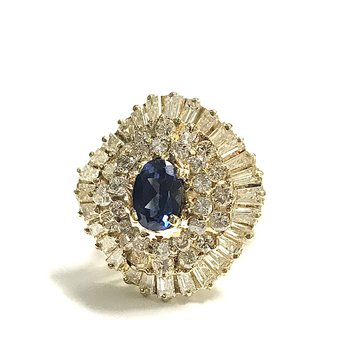 Sapphire & Diamond Ballerina Ring
