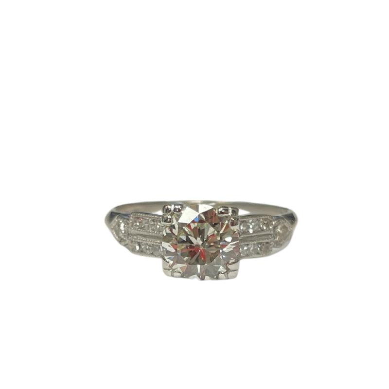 Antique, Estate & Consignment Platinum Vintage Milgrain Diamond Ring