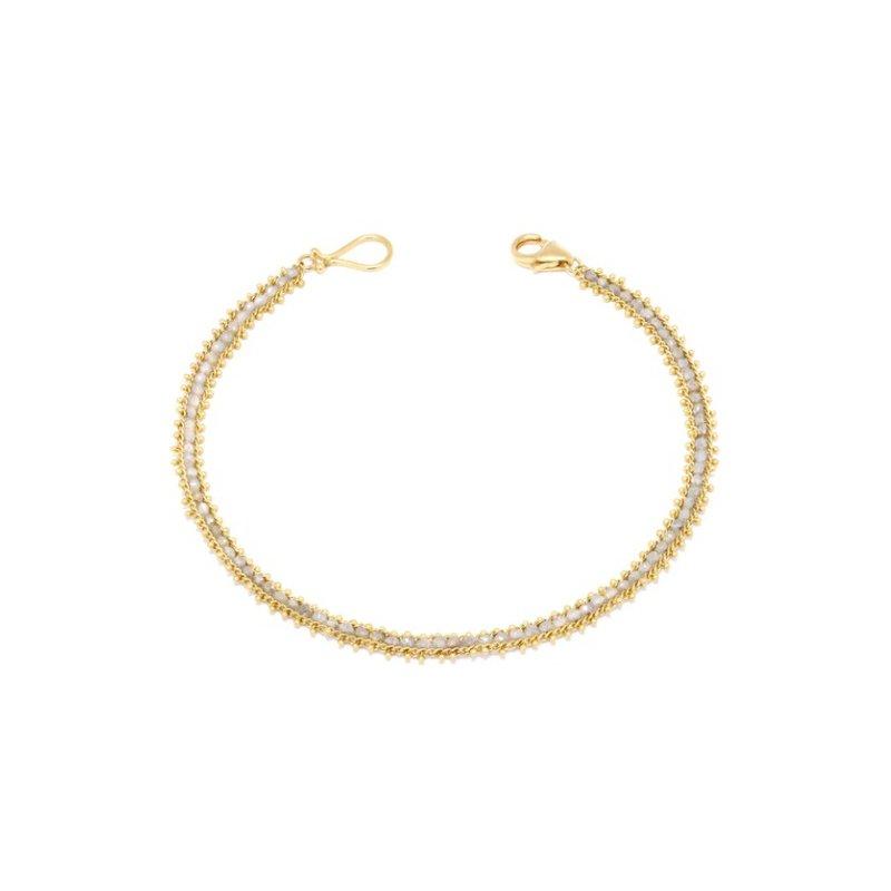 Amali Textile Row Bracelet in Silver Diamond