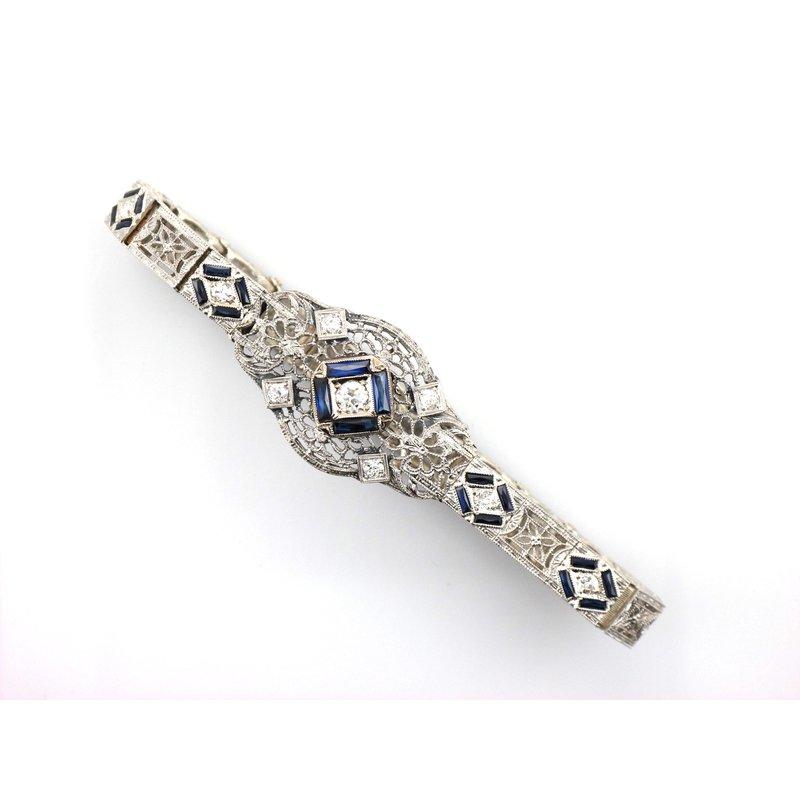 Antique, Estate & Consignment Art Deco Diamond & Synthetic Sapphire Bracelet
