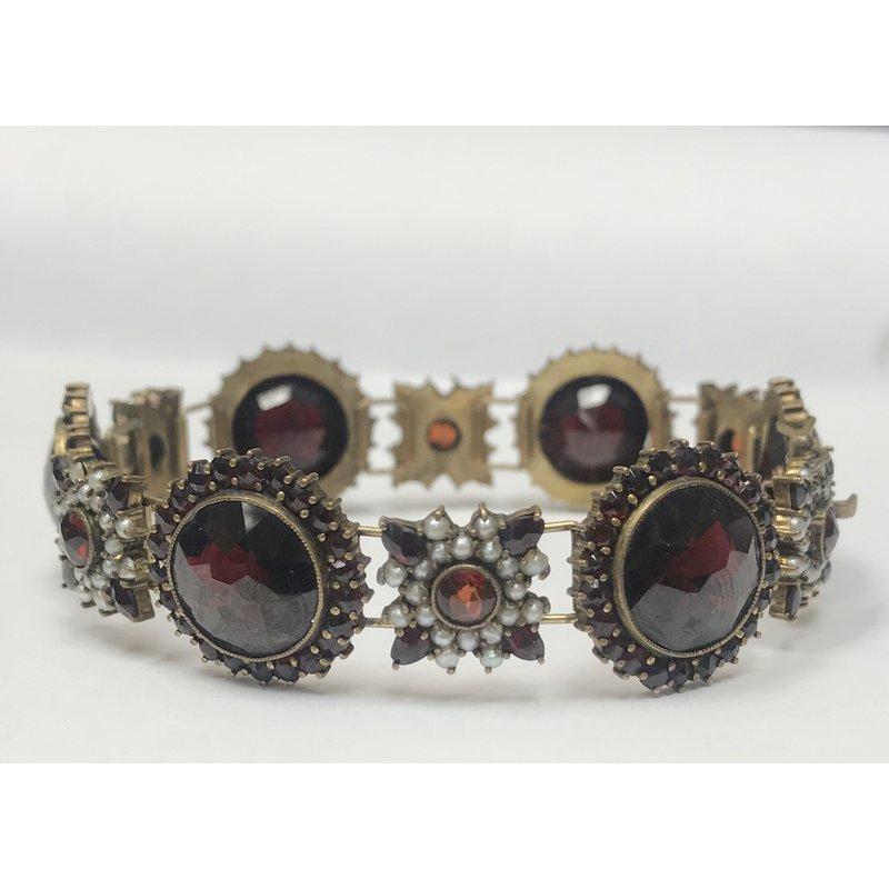 Antique, Estate & Consignment Garnet & Seed Pearl Bracelet