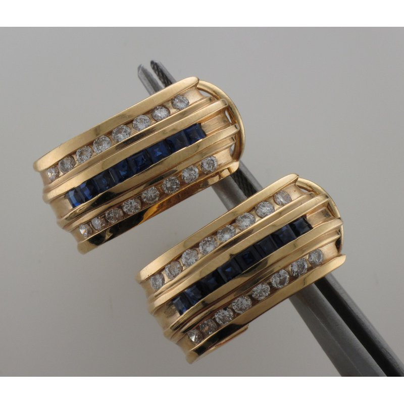 Antique, Estate & Consignment Triple Row Channel Set Diamond & Sapphire Earrings
