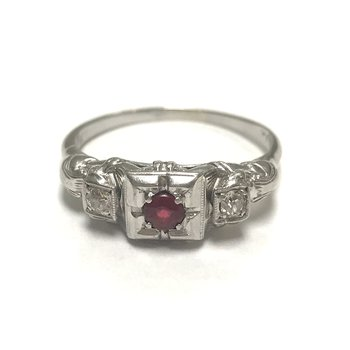 Filigree Garnet Doublet Ring