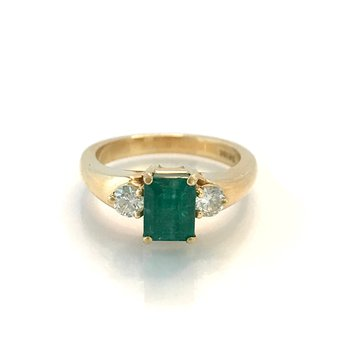 Three Stone Emerald & Diamond Ring