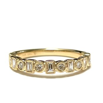 Baguette & Round Diamond Band - Yellow Gold