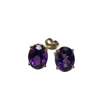 Oval Amethyst Stud Earrings
