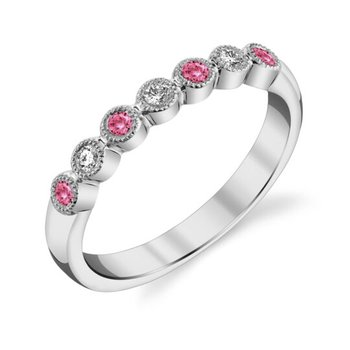 Pink Tourmaline & Diamond Anniversary Band